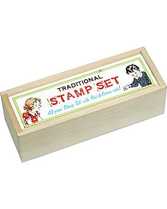 Rex London Set di Timbri, Alfabeto - Include numeri e 2 inchiostri! Adesivi e Timbri