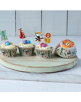 Rex London Set Stampini da Cupcake e Decorazioni Torta, Creature Colorate Decorazioni per Torte