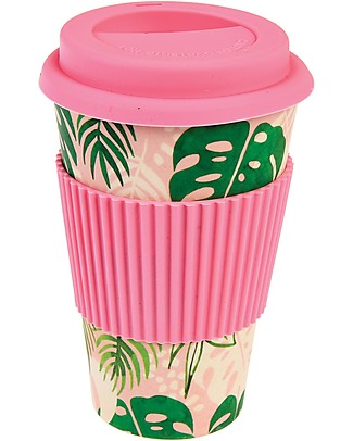 Rex London Tazza da Viaggio in Bambù 400 ml, Tropical palm - Originale ed Eco-friendly Tazze e Bicchieri