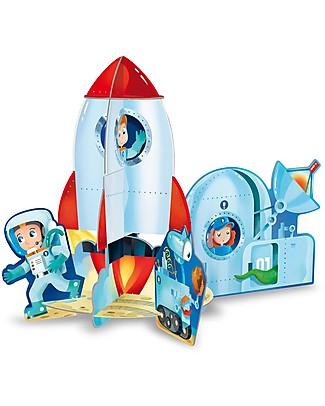 Sassi Junior Puzzle 3D con Libro, Il Razzo Lunare - 12 pezzi giganti da incastrare Puzzle