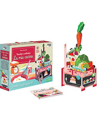 Sassi Junior Puzzle 3D con Libro, La Mia Cucina - 14 pezzi giganti da incastrare Giochi Per Inventare Storie