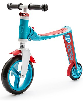 Scoot and Ride Monopattino e Bici Senza Pedali 2in1 Highwaybaby, Azzurro/Rosso - Da 1 anno in su Biciclette Senza Pedali