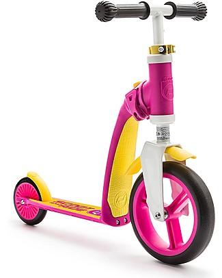 Scoot and Ride Monopattino e Bici Senza Pedali 2in1 Highwaybaby, Rosa/Giallo - Da 1 anno in su Biciclette Senza Pedali