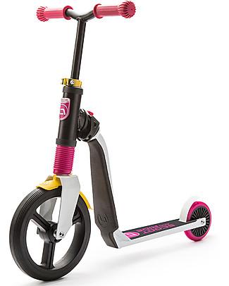 Scoot and Ride Monopattino e Bici Senza Pedali 2in1 Highwayfreak, Bianco/Rosa/Giallo - Da 3 anni in su Biciclette Senza Pedali