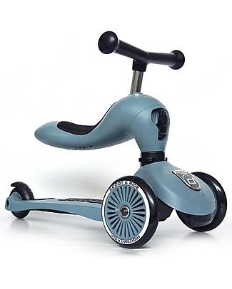 Scoot and Ride Monopattino e Triciclo 2in1 Highwaykick 1, Blu Acciaio - Da 1 a 5 anni Biciclette Senza Pedali