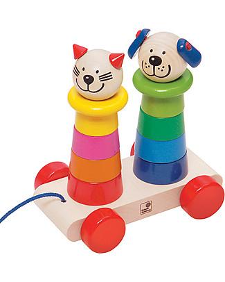 Selecta Filino – Giocattolo in legno con rotelle Sonagli