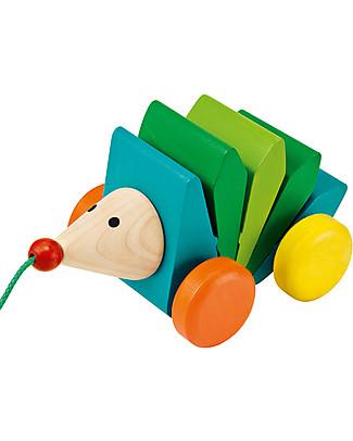 Selecta Kasper Klip-Klap, Riccio in legno da trascinare Giochi da Tirare e Spingere