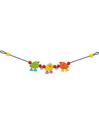 Selecta Piepolini – Gioco multicolore in legno per carrozzina e passeggino Sonagli di Legno