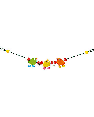 Selecta Piepolini - Gioco multicolore in legno per carrozzina e passeggino Sonagli di Legno