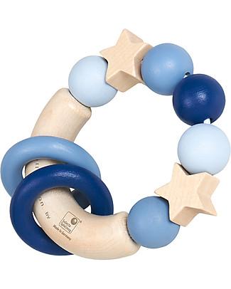 Selecta Tocco Magico, Blu – Giocattolo da presa in legno, adatto fin dalla nascita! Sonagli di Legno