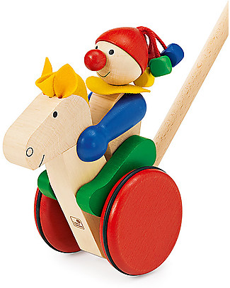 Selecta Trotto – Cavalluccio con fantino in legno Giochi da Tirare e Spingere