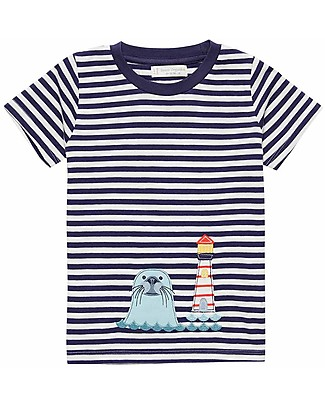 Sense Organics T-shirt a Righe con Applique Ibon, Foca - 100% cotone bio T-Shirt e Canotte