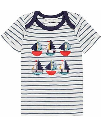 Sense Organics T-shirt a Righe con Applique Toby, Barchette - 100% cotone bio T-Shirt e Canotte