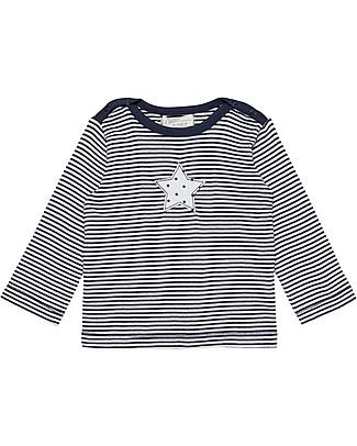 Sense Organics T-shirt Maniche Lunghe Luna, Righe Blu e Stella - 100% Cotone bio Maglie Manica Lunga