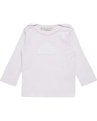 Sense Organics T-shirt Maniche Lunghe Luna, Righe Rosa e Nuvola - 100% Cotone bio Maglie Manica Lunga