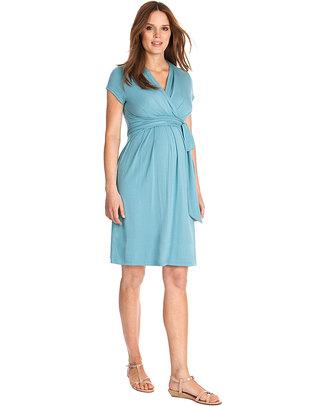 Seraphine Abbey - Abito Elegante Premaman e Allattamento - Azzurro Mare Vestiti
