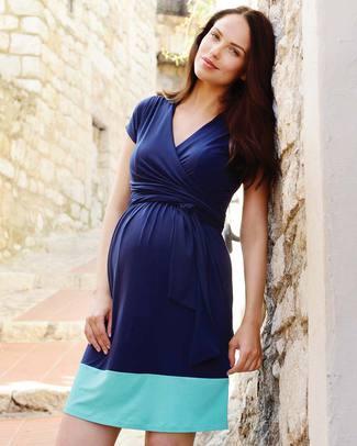 Seraphine Enja - Abito Premaman e Allattamento Blocchi di Colore - Blu & Azzurro Vestiti