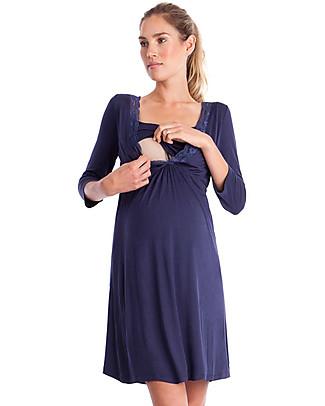 Seraphine Jane, Camicia da Notte Premaman & Allattamento - Blu Mezzanotte Camicie Da Notte