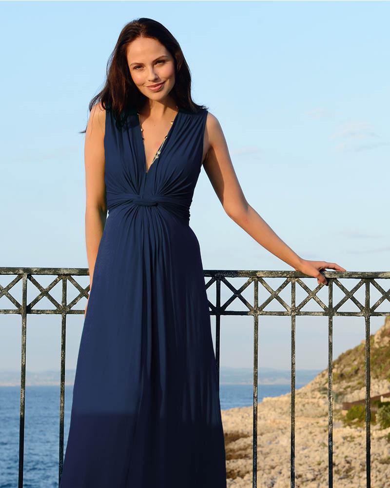 45c181f755e2 Seraphine Jo - Abito Elegante Premaman - Blu - (perfetto anche da  cerimonia) Vestiti