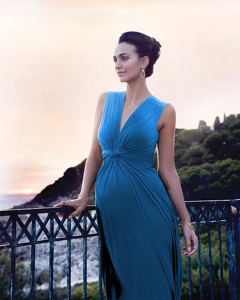 Seraphine Jo - Abito Elegante Premaman - Turchese Seaside . d2227ec622b