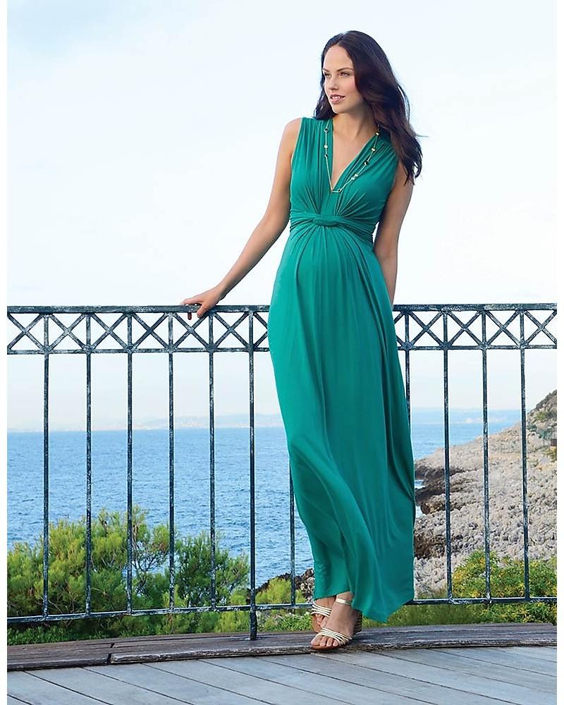 Vestiti Cerimonia Allattamento.Seraphine Jo Abito Elegante Premaman Verde Smeraldo
