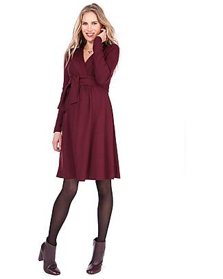 Seraphine Johanna Abito Invernale Premaman e Allattamento con Dettaglio Incrociato, Rosso Borgogna Vestiti