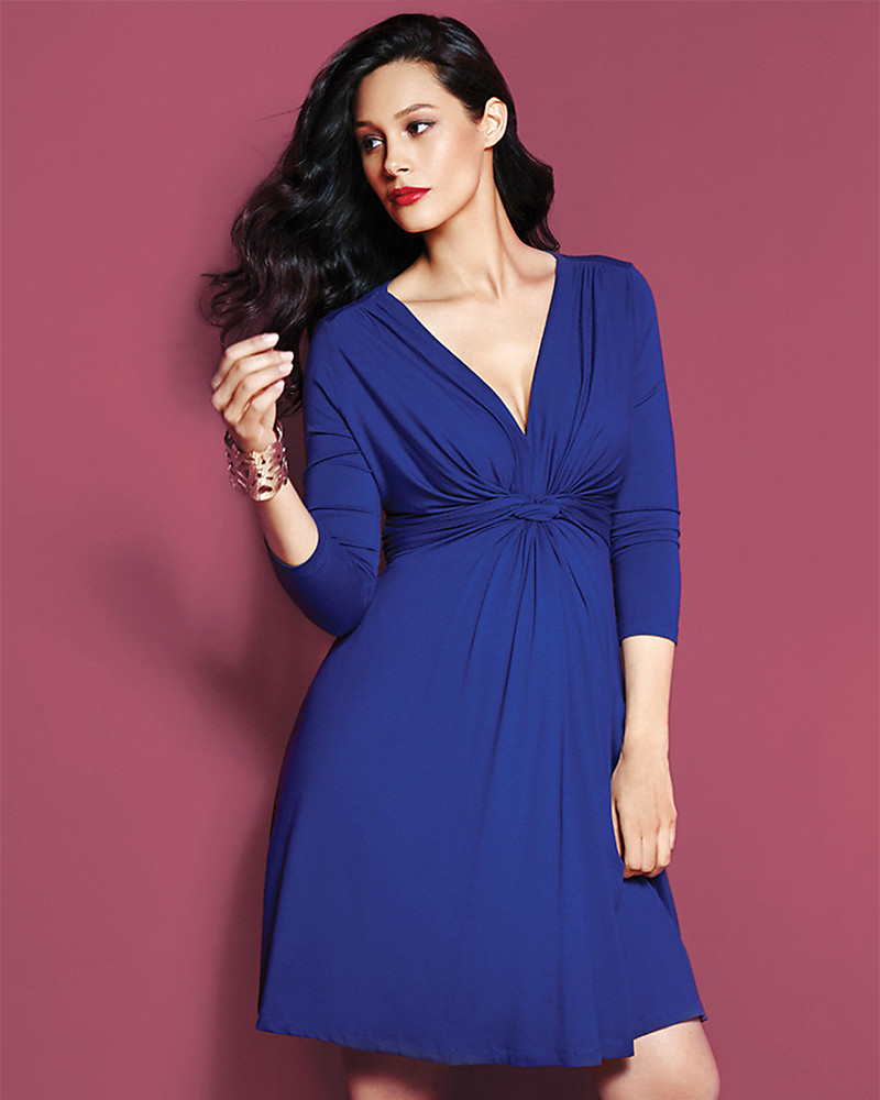 Seraphine Jolene - Abito elegante premaman con nodo maniche a ¾ - Blu Scuro  Vestiti c79548a7d3d