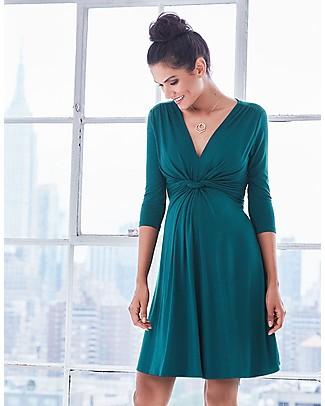Seraphine Jolene - Abito elegante premaman con nodo maniche a ¾ - Verde Smeraldo null