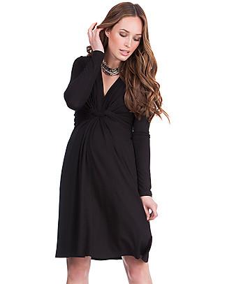 Seraphine Jolene - Abito elegante premaman con nodo maniche lunghe - Nero Vestiti