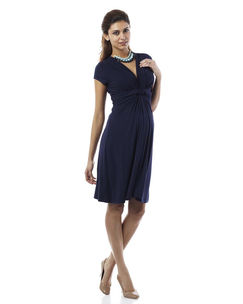 best website e38f8 30331 Seraphine Jolene - Abito Elegante Premaman Nodo - Blu Navy donna