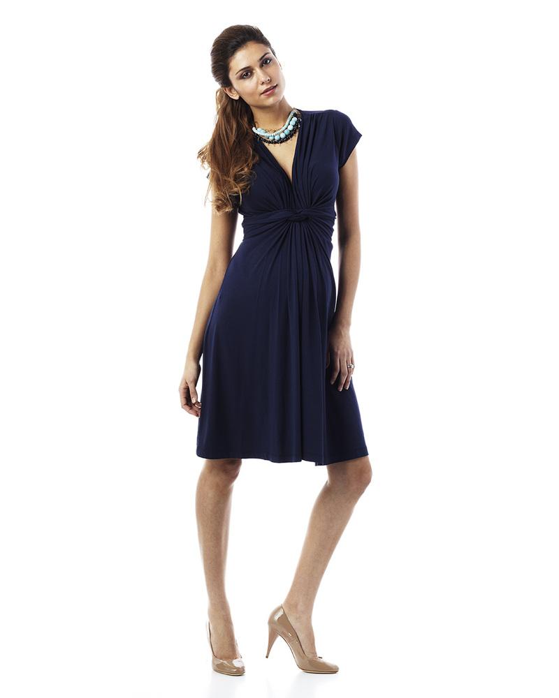 best website 7c738 c4d68 Seraphine Jolene - Abito Elegante Premaman Nodo - Blu Navy donna