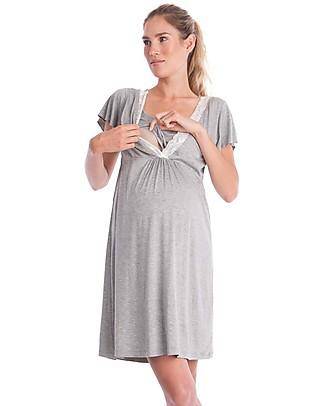 Seraphine Meadow, Camicia da Notte Premaman & Allattamento - Grigio Melange Pigiami