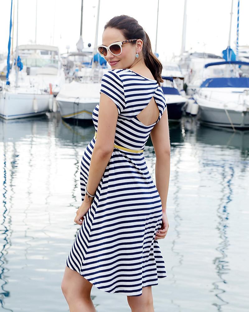 size 40 53c19 88f80 Seraphine Nicola, Abito Premaman Stile Navy - Bianco e Blu donna
