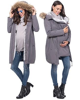 Seraphine Parka Premium Valetta Premaman e Copri Porta Bebè 3 in 1, Grigio - Prima e dopo la gravidanza! Giacche