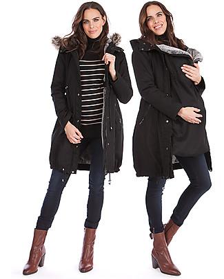 Seraphine Parka Premium Valetta Premaman e Copri Porta Bebè 3 in 1, Nero - Perfetto prima e dopo la gravidanza! Giacche