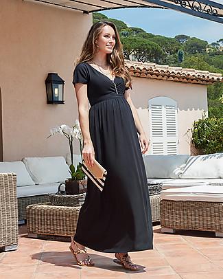 Seraphine Percy Maxi Dress  Premaman Dettaglio Scollo e Fiocco sulla Schiena - Nero Vestiti