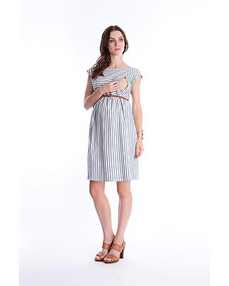 Seraphine Presley, Abito Premaman e Allattamento, Righe Bianco/Celeste - 100% cotone Vestiti
