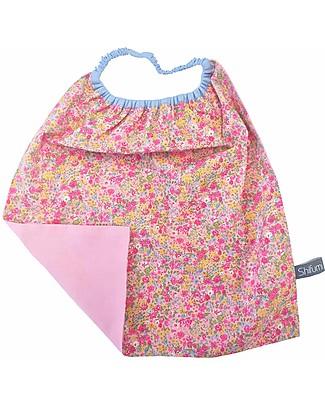 Shifumi Bavaglio con elastico - Rosa con Stampa Floreale 100% Cotone (Perfetto per l'asilo: si infila dalla testa senza lacci!)  Bavagli Con Elastico