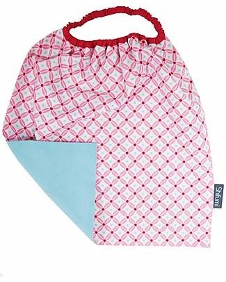 Shifumi Bavaglio con elastico - Stampa Geometrica Rosa e Celeste 100% Cotone (Perfetto per l'asilo: si infila dalla testa senza lacci!)  Bavagli Classici