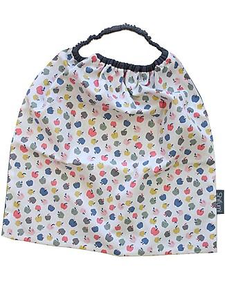 Shifumi Bavaglio con elastico - Stampa Mele e Azzurro 100% Cotone (Perfetto per l'asilo: si infila dalla testa senza lacci!)  null