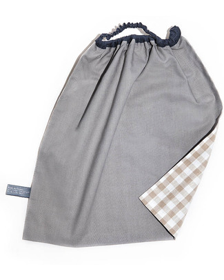 Shifumi Bavaglio con elastico - Vichy Beige 100% Cotone (Perfetto per l'asilo: si infila dalla testa senza lacci!) Bavagli Con Elastico