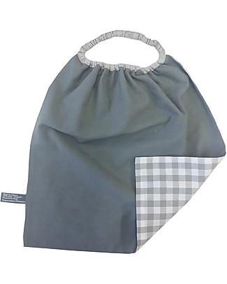 Shifumi Bavaglio con elastico - Vichy Grigio 100% Cotone (Perfetto per l'asilo: si infila dalla testa senza lacci!)  Bavagli Classici