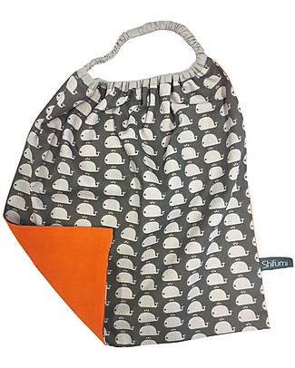 Shifumi Easy Wear Bib with Elastic Neck Opening - Grey with Whales Print and Orange - 100% Cotton (Perfect for home and school!) Pullover Bibs