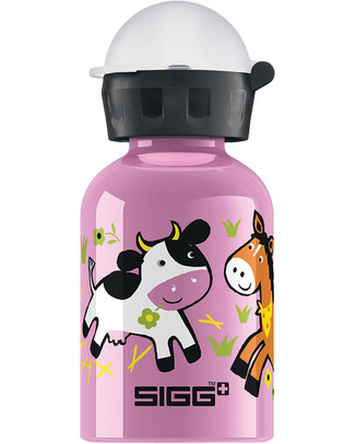 SIGG Farmyard Family Kids Drinking Bottle with Sports Cap 0.3 L- Light, safe and leak-proof Metal Bottles