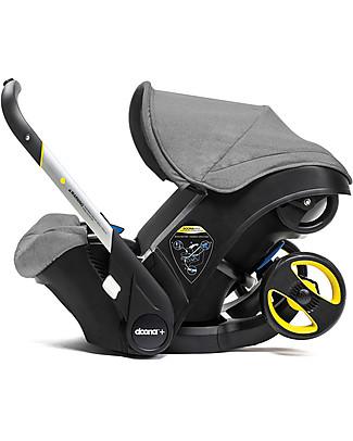 Simple Parenting Doona+, Seggiolino Auto con Ruote 2-in-1, Grigio - Approvato come passeggino! Seggiolini Auto