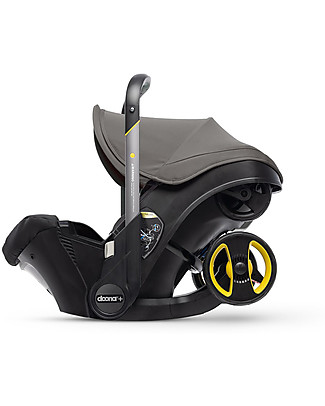 Simple Parenting Doona+, Seggiolino Auto Gruppo 0+ con Ruote 2-in-1, Grigio Hound - Approvato come passeggino! Seggiolini Auto per Neonati