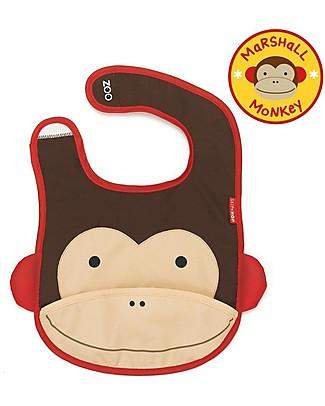 Skip Hop Bavaglio Tecnico con Tasca, Scimmietta – Impermeabile, si ripiega e non sporca! Bavagli Impermeabili