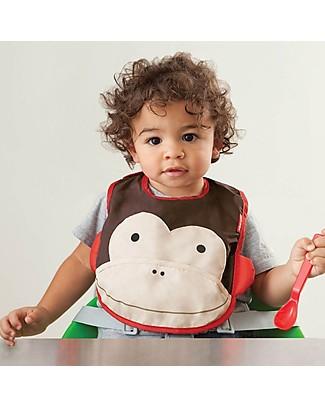 Skip Hop Bavaglio Tecnico con Tasca, Scimmietta - Impermeabile, si ripiega e non sporca! Bavagli Impermeabili