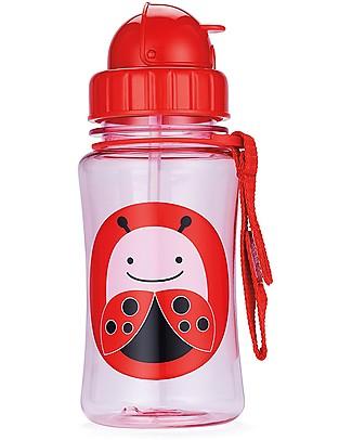 Skip Hop Bottiglia da Viaggio Zoo con Cannuccia per Bambini, Coccinella - Tappo Flip-Top! Borracce senza BPA