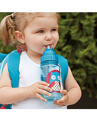 Skip Hop Bottiglia da Viaggio Zoo con Cannuccia per Bambini, Gufo - Tappo Flip-Top! Borracce senza BPA